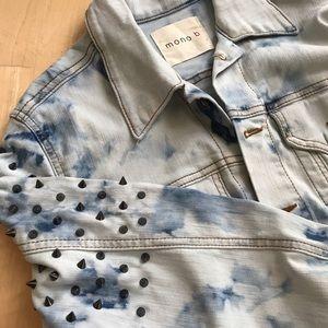 mono b | acid wash studded denim jacket